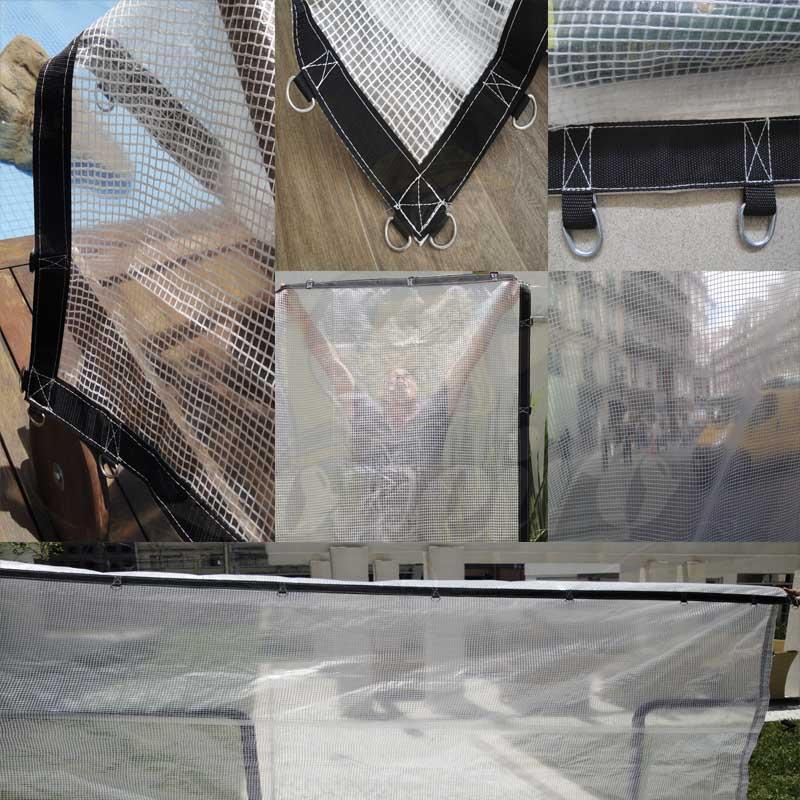 Lona 6,0 x 5,0m Transparente 400 Micras Plástica Crystal Argolas com 28 elásticos lonaflex 30cm + 30m Corda 4mm!