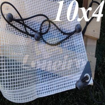 Lona: 10,0 x 4,0m Transparente 300 Micras Plástica Impermeável com Ilhoses a cada 50cm + 28 Elásticos LonaFlex 30cm de brinde!