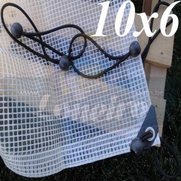 Lona: 10,0 x 6,0m Transparente 300 Micras Plástica + Ilhoses a cada 50cm com 32 Elásticos LonaFlex 30cm de brinde!