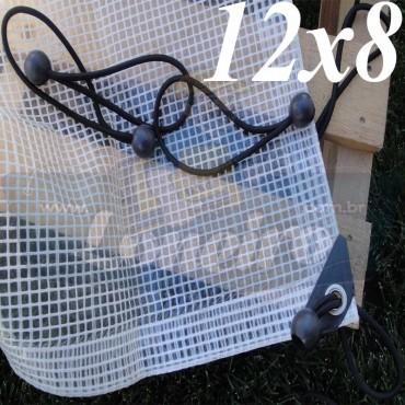 Lona: 12,0 x 8,0m Transparente 300 Micras Plástica + Ilhoses a cada 50cm com 40 Elásticos LonaFlex 30cm de brinde!