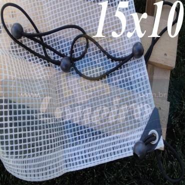Lona: 15,0 x 10,0 Transparente 300 Micras Plástica + Ilhoses a cada 50cm com 50 Elásticos LonaFlex 30cm de brinde!