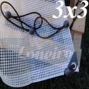 Lona 3,0 x 3,0m Transparente 300 Micras Plástica Ilhoses a cada 50cm com 12 Elásticos LonaFlex 30cm de brinde!
