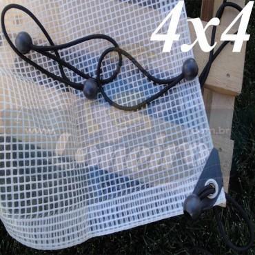 Lona 4,0 x 4,0m Transparente 300 Micras Plástica Impermeável com Ilhoses a cada 50cm + 16 Elásticos LonaFlex 30cm de brinde!