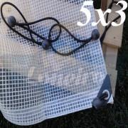 Lona 5,0 x 3,0m Transparente 300 Micras Plástica + Ilhoses a cada 50cm com 16 Elásticos LonaFlex 30cm de brinde!