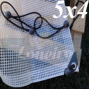 Lona 5,0 x 4,0m Transparente 300 Micras Plástica Impermeável com Ilhoses a cada 50cm + 18 Elásticos LonaFlex 30cm de brinde!