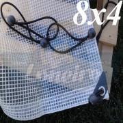 Lona 8,0 x 4,0m Transparente 300 Micras Plástica Impermeável com Ilhoses a cada 50cm + 25 Elásticos LonaFlex 30cm de brinde!