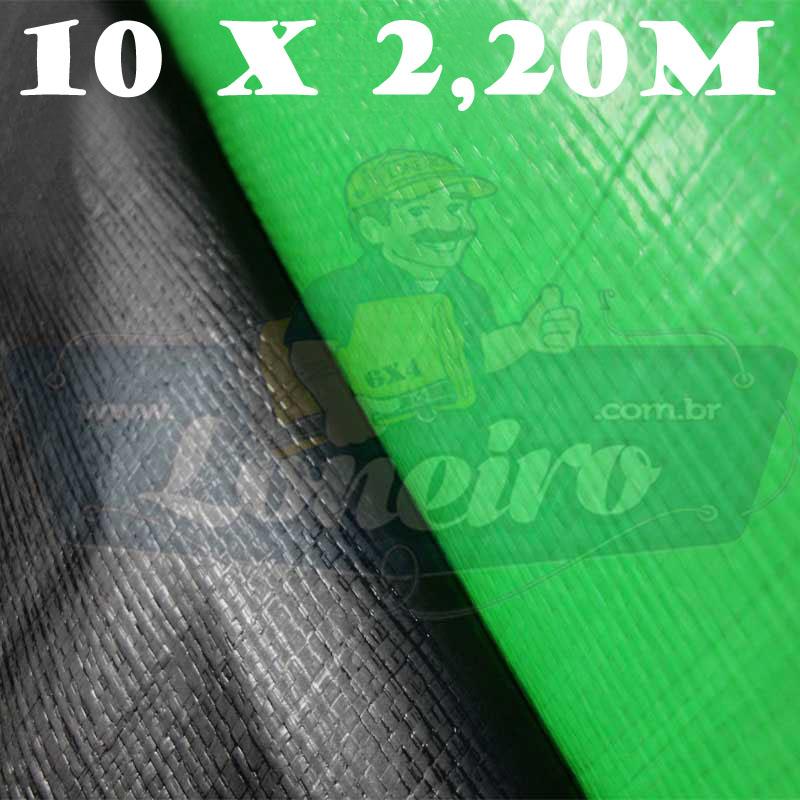 Tecido Plástico Polietileno Verde Limão / Preto Fosco 10,0 x 2,20m = 22m²  Impermeável com 300 Micras