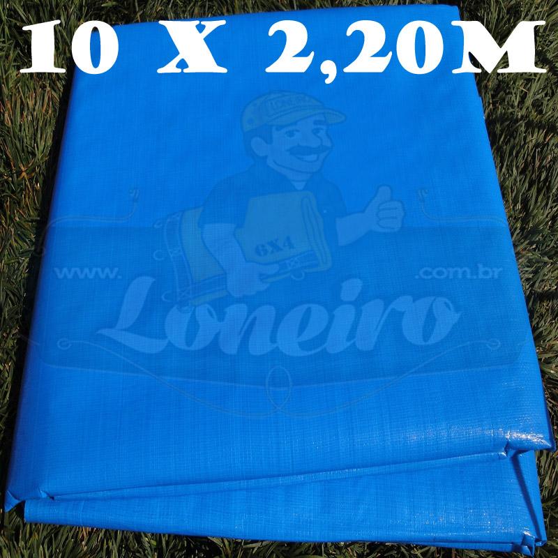 Tecido Plástico de Polietileno Azul Céu 10,0 x 2,20m = 22m²  Impermeável com 300 Micras