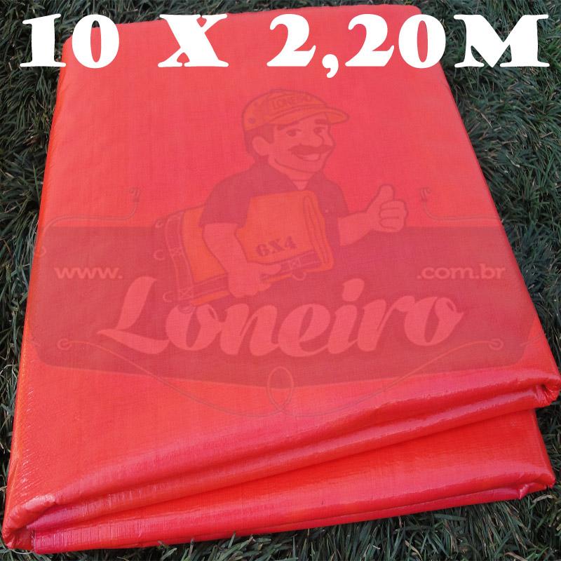 Tecido Plástico de Polietileno Vermelho 10,0 x 2,20m = 22m²  Impermeável com 300 Micras