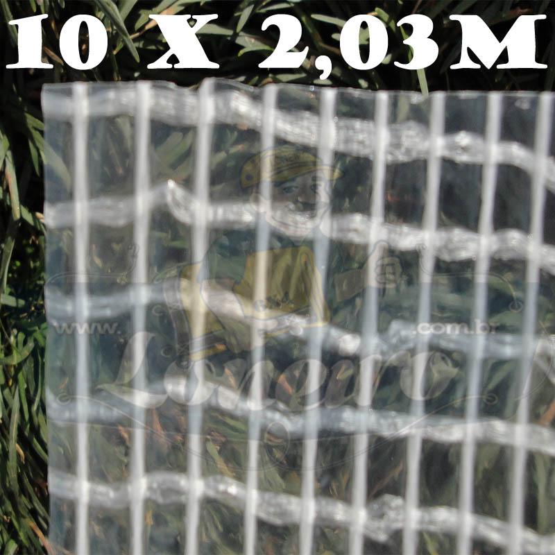 Tecido Plástico de Polietileno Transparente 10,0 x 2,03m = 20,3m²  Impermeável com 300 Micras