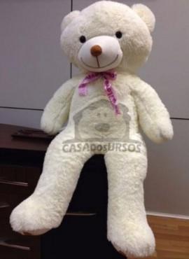 Urso de Pelúcia Creme Romântico 1,20 Metros ou 120 cm Teddy Bear - Pelúcia Premium Gigante Love Amor Ideía Presente Perfeito