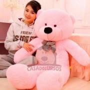 Urso de Pelucia Gigante Rosa 1,4 Metros ou 140cm de altura - Presente ideal para a Namorada / Natal / Dia dos Namorados