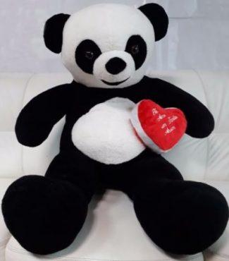 Urso Panda + Coração de Pelúcia Gigante com 120cm / 1,20 metros Presente Namorada
