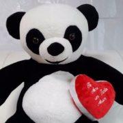 Urso Panda Pelucia Gigante Romântico Coracao 1,2 Mts - Casa Do Urso d3s