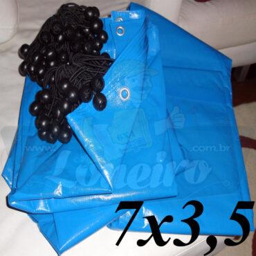 Lona 7,0 x 3,5m Azul 300 Micras Loneiro com Ilhoses cada 1 metro + 21 Elásticos LonaFlex 30cm para Telhado Barraca Cobertura Proteção Multi-Uso
