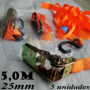 Catraca com Cinta de amarração cor Laranja 25mm x 5m para 500kg/força - 5 unidades