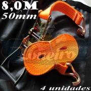 Catraca com Cinta de amarração cor Laranja 50mm x 8,0m para 5000kg/força - 4 unidades