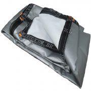aaa...Lona pppe 500 micra branca prata acabamento cinza argolas D inox cinta preta reforço reforçada durabilidade alta resistente loneiro