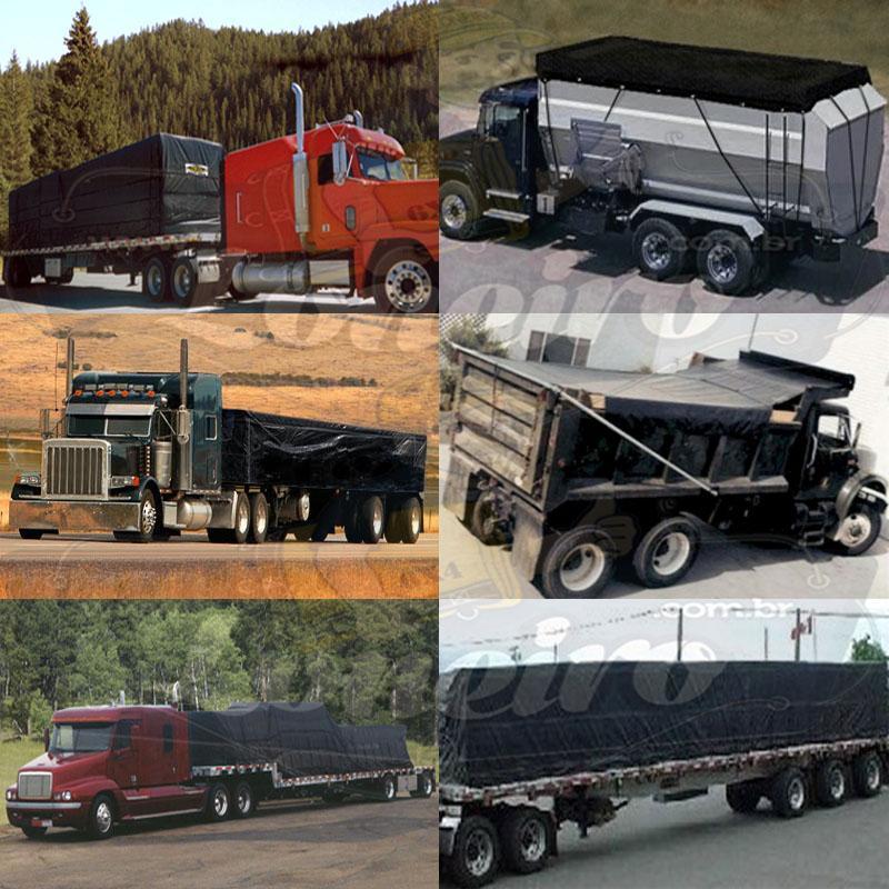 Lona 8,0 x 4,5m PVC Premium Caminhão Vinil Preto Fosco AntiChamas com 16 LonaFlex Gancho 25cm e 16 LonaFlex Gancho 50cm 1 ROW 0,75m