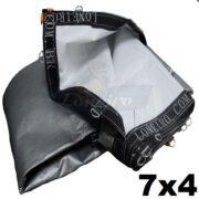 Lona 7,0 x 4,0m Loneiro 500 Micras PPPE Para Projetor Projeção Imagens Telão Branca e Prata com argolas