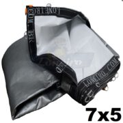 Lona 7,0 x 5,0m Loneiro 500 Micras PPPE Para Projetor Projeção Imagens Telão Branca e Prata com argolas