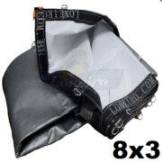 Lona 8,0 x 3,0m Loneiro 500 Micras PPPE Para Projetor Projeção Imagens Telão Branca e Prata com argolas