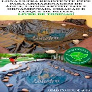 Lona para Lago Tanque de Peixes PP/PE 9,0 x 4,0m Cinza Chumbo / Preta impermeável e atóxica para Lagos Artificiais e Armazenagem de Água