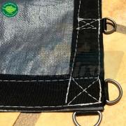"""Lona: 12,0 x 10,0m Plástica Premium 500 Micras PP/PE Cobertura Proteção Cinza Chumbo e Preto com argolas """"D"""" INOX a cada 50cm"""
