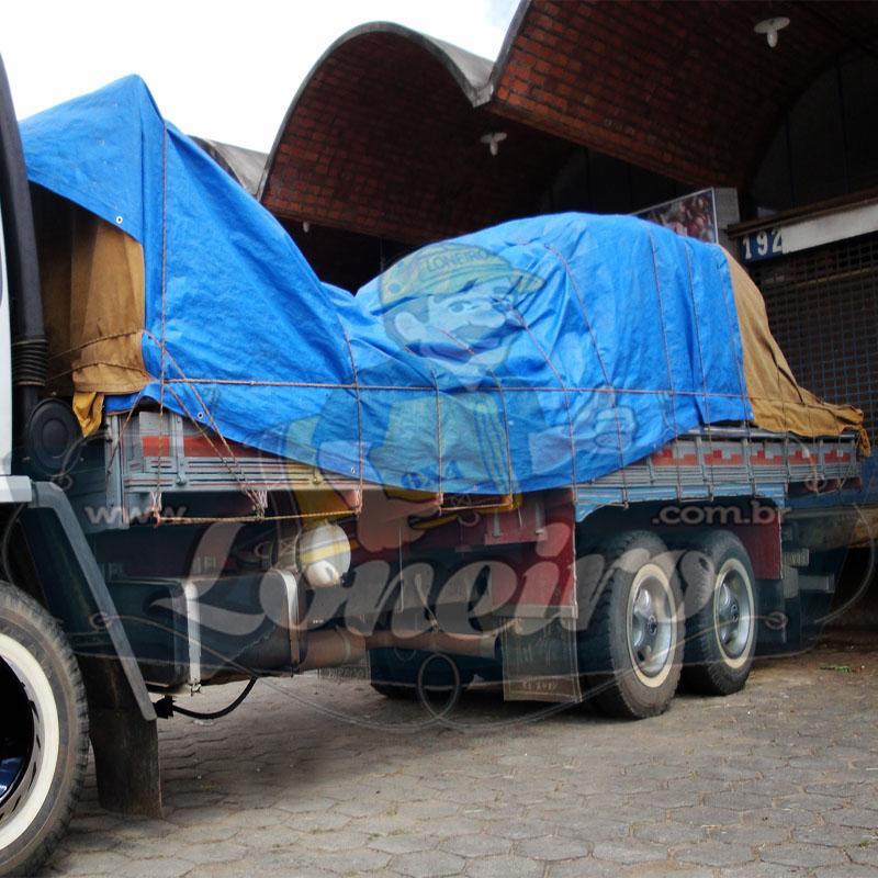 Lona 7,2 x 3,6m Loneiro 500 Micras PPPE Azul e Preto com argolas