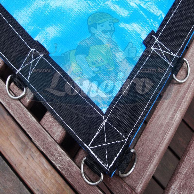 Lona: 15,3 x 4,5m Loneiro 500 Micras PPPE Azul e Preto com argolas