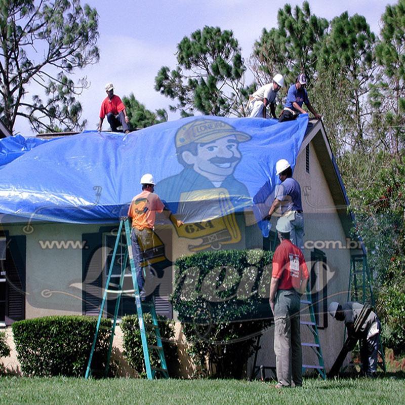 Lona: 12,0 x 12,0m Azul 300 Micras para Telhado, Barraca, Cobertura e Proteção Multi-Uso + 48 Elásticos LonaFlex 30cm