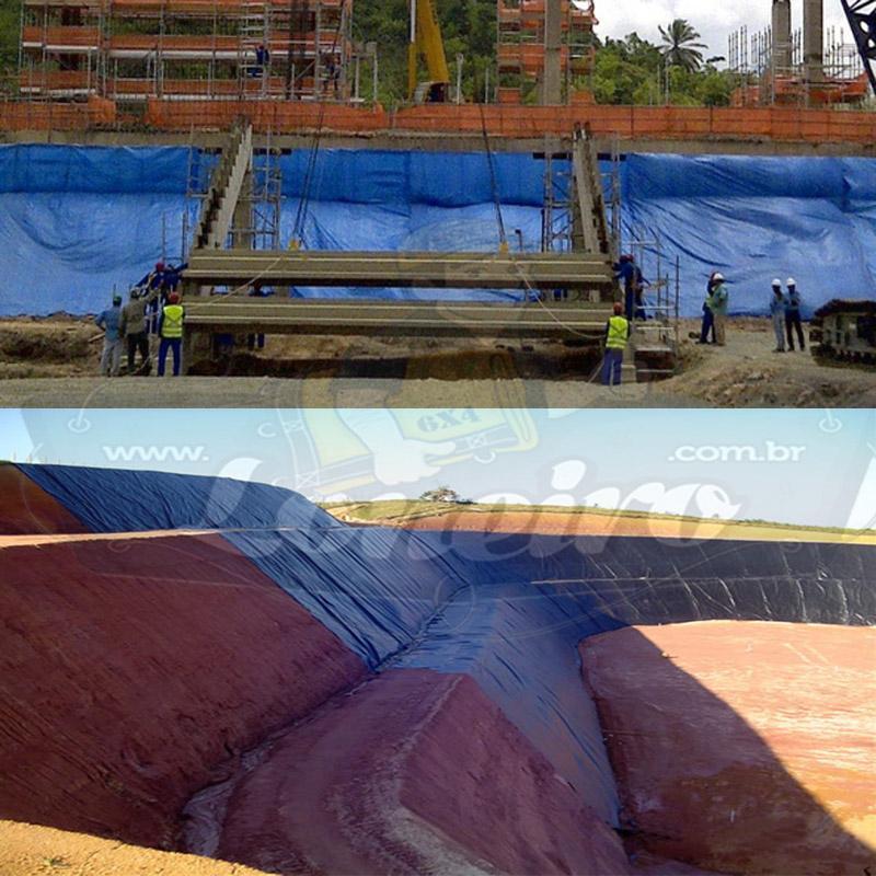 Lona: 20,0 x 20,0m Azul 300 Micras Cobertura Proteção Lagos Tanques de Peixes Reservatórios + 80 Elásticos LonaFlex 30cm