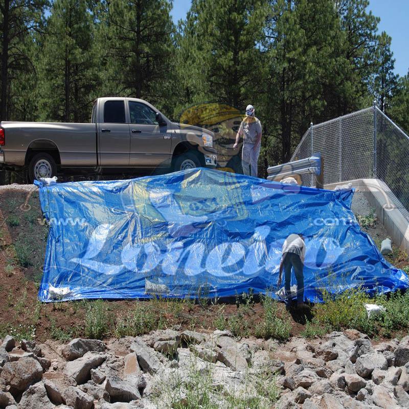 Lona 9,0 x 5,0m Azul 300 Micras para Telhado, Barraca, Cobertura e Proteção Multi-Uso + 28 Elásticos LonaFlex 30cm