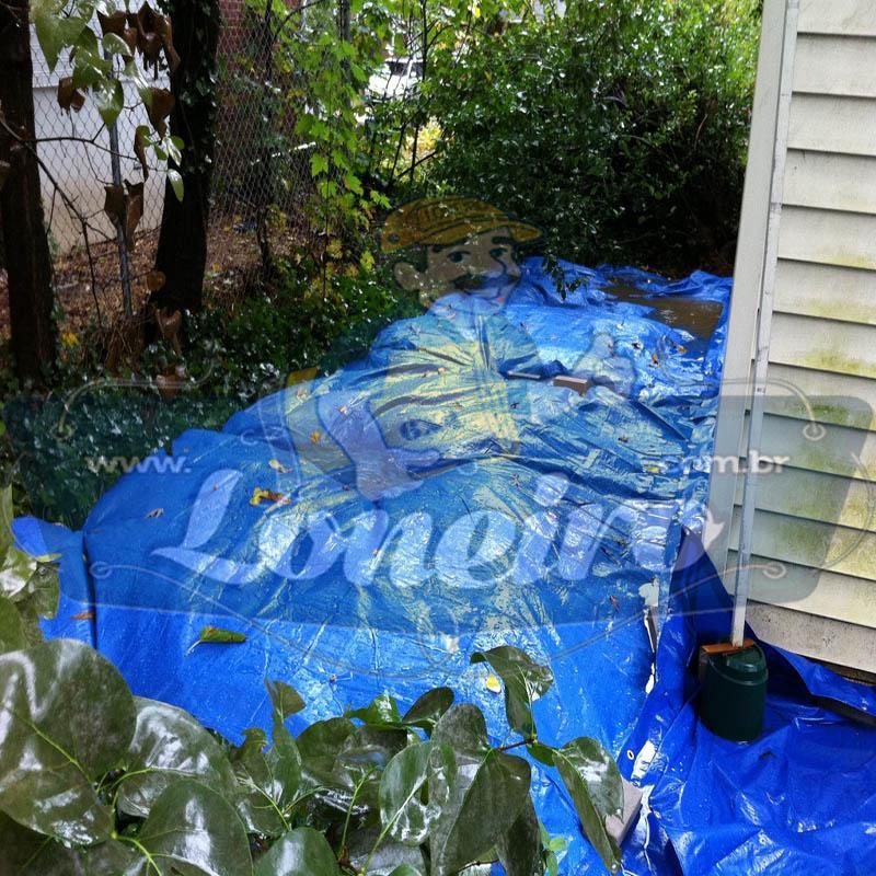 Lona 7,0 x 6,0m Azul 300 Micras com Ilhos cada 1 metro + 30 Elásticos LonaFlex 20cm Cobertura Proteção Garagem Móveis Silo