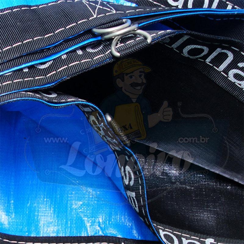 Lona 8,5 x 4,0m Loneiro 500 Micras PPPE Azul e Preto com argolas