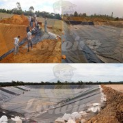 Lona para Lago Tanque de Peixes PP/PE: 15,5m de diâmetro Redonda Azul/Cinza para Lagos Artificiais, Armazenagem de Água e Cisterna